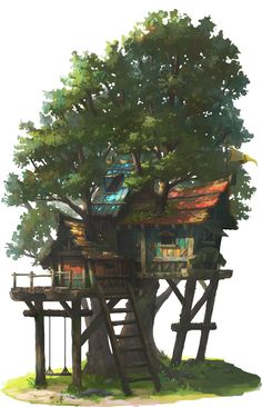 The above hideout tree, OKU (K.I Kim) on ArtStation at https://www.artstation.com/artwork/the-above-hideout-tree