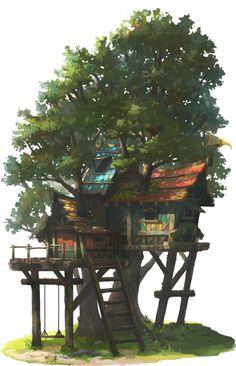 The above hideout tree, OKU (K.I Kim) on ArtStation at https://www.artstation.com/artwork/the-above-hideout-tree