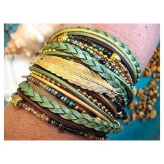 Boho Chic Endless Leather Wrap Sage Beaded Bracelet with Floating Gold... ❤ liked on Polyvore
