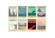 Retro Travel Poster Star Wars Set of 8 MANY by TeacupPiranha