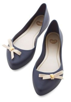 First Day of Cool Flat. Whatever you pair with these flexible, navy-blue flats, youll start your school year off on the right foot! #blue #modcloth