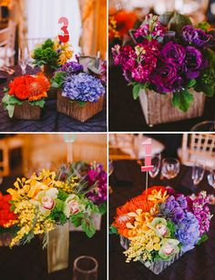AMAZING RAINBOW WEDDING TRENDS | Love how they incorporated paint chip samples for the centerpieces ...