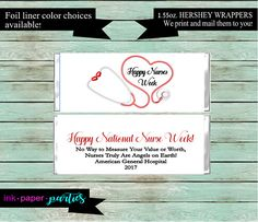Nurse Nursing Week Graduation Thank You Appreciation Candy Wrappers Favors Personalized Custom Design ~ We Print and Mail to You Staff Gifts, Nurse Gifts, Teacher Appreciation Week, Appreciation Gifts, Hershey Candy Bars, Happy Nurses Week, Personalized Candy, Thing 1, I Sent You