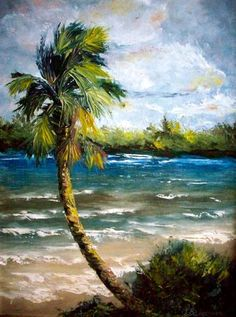 Mosquito Lagoon on the east coast of Florida opens out to the Atlantic Ocean. It is a natural ecological haven surrounded by many small uninhabited islands. Landscape Illustration, Watercolor Landscape, Abstract Landscape, Landscape Paintings, Ocean Paintings, Abstract Tree Painting, Seascape Art, Scenic Wallpaper, Tropical Art