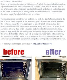 Note: clean your oven more often than mine had been cleaned! I had gunk built up quite a bit so thought this method definitely helped soften it, I still had to scrape like crazy. Use a pan scraper, it was much better than a scrub brush. I suppose a chisel would probably work, lol.
