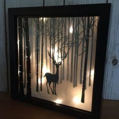 Christmas Decoration, Illuminated Winter Scene Shadow Box, Silent Night Luminary, Deer In Snow Silhouette Picture 23 cm x 23 cm Lose Christmas Projects, Holiday Crafts, Christmas Holidays, Christmas Balls, Hanging Christmas Lights, Christmas Decorations, Christmas Shadow Boxes, Christmas Light Installation, Silhouette Pictures