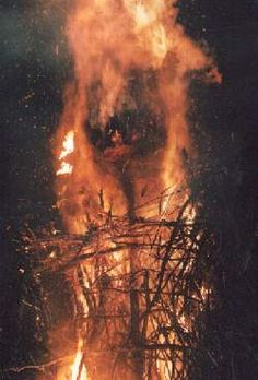 Fire Rituals, the magic ritual fire of burning effigy ( burning man )and totem figures in Samhain celebration
