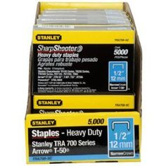 Stanley TRA708-5C 1/2-Inch Heavy Duty Staples, 5000 Units by Stanley. $10.48. From the Manufacturer                For heavy duty stapling jobs such as insulation, carpet under laying and roofing felt. Color-coded packaging makes size and product selection a cinch. Sturdy plastic packaging reduces staple breakage. Heavy Duty Narrow Crown fits TR100, TR200, TRE500 series, PHT150, PHT250 and Arrow T-50.                                    Product Description          ...