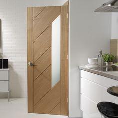 Monza oak door - obscure safety glass, fantastically modern. #contemporaryglazeddoor #internalmoderndoor #bathroomdoor