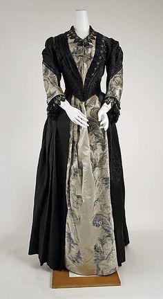 Evening dress Date: 1885–89 Culture: American Medium: silk, glass, cotton Accession Number: 1977.61.1