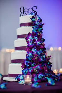Purple Wedding Flowers Our wedding cake. Purple / Plum theme with dendrobium orchids dyed blue and a few lisianthus filler flowers. Purple Wedding Cakes, Beautiful Wedding Cakes, Blue Wedding, Dream Wedding, Wedding Day, Elegant Wedding, Wedding Ideas Purple, Purple Wedding Dresses, Luxury Wedding