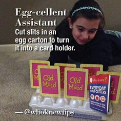 If your little ones like to play games with cards, you can help their tiny hands by creating this crafty card holder: Turn an empty egg carton upside down, and cut slits in each rounded cup just wide enough to hold a card. Slip one card through each cup, and they'll stand up straight for easy viewing.