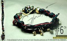 NEW COLLECTION 2012 -  Glamushi BLACK (EXCLUSIVE) Material: GoldField Color: NEGRO & ROJO SANGRE  Dijes: Estrellas Swarovsky  Swarovski : Rojo