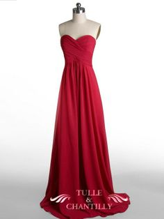 Long Fame Red Sweetheart Strapless Bridesmaid Dress