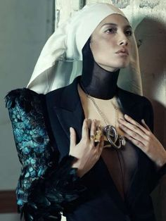 Couture Religious Editorials - The Catholic Guilt Design Scene Exclusive is Artful and Avant-Garde † #fashion #femalemodel #nun #habit #religious #iconography #nunsploitation silhouett, fashion, randolph tan, tans, cathol guilt, couture, scene, design, skye tan
