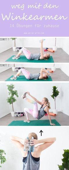 Winkearme, Schwabbelarme, Bingo arms. Wie man Winkearme los werden kann? Ganz einfach, mit 14 Übungen für zuhause die Winkearme trainieren. Mit regelmäßigem Training bekommt man schnell schön definierte Arme. #fitnessübung #armtraining