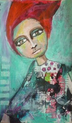 wind blowing Portrait of a woman, Acrylic painting, Mixed Media Art, Benedicte 2015