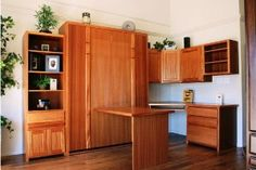 Queen Chalet Murphy Bed with Table down