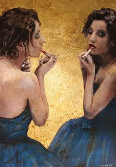 "William Oxer; Painting, ""The Mirror"""