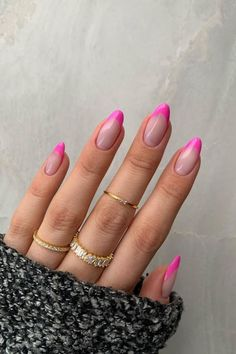 Pink Tip Nails, Almond Nails Pink, Almond Acrylic Nails, Pink Acrylic Nails, French Tip Nails, Neon Nails, Swag Nails, Bright Nails, Neon Pink Nail Polish