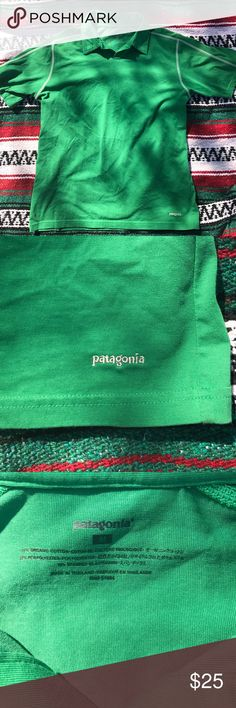 Patagonia polo shirt Like new condition green color with white stitching that is in new condition size medium 55% organic cotton 35% polyester 10% spandex Patagonia Shirts Polos