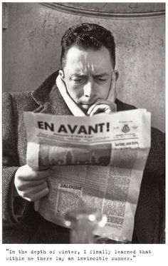"""booksactually: """" """"In the depth of winter, I finally learned that within me there lay an invincible summer."""" – Albert Camus (b. 7 November 1913 - 4 January """" Albert Camus reading the paper Writers And Poets, Albert Camus, Book Writer, Book Authors, People Reading, Penguin Modern Classics, Jean Paul Sartre, Human Condition, Good People"""