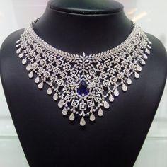 Diamond Choker With Sapphire Stones, Necklace Designs With Diamonds and Sapphire Stones.