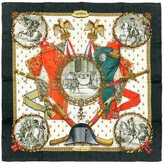 """HERMES SCARF Silk """"Napoleon"""" by PhIllipe Ledoux Vintage 90cm Carre 100% Auth"""