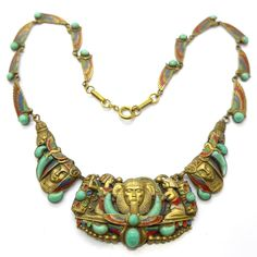 Vintage Art Deco Czech Neiger Brothers Egyptian Revival Sphinx Pharaoh Peking Glass Necklace | Clarice Jewellery | Vintage Costume Jewellery