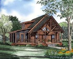 House Plan 61123 | Log   Narrow Lot    Plan with 1122 Sq. Ft., 3 Bedrooms, 2 Bathrooms
