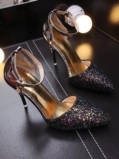 Black Point Toe Stiletto Ankle Strap Gliter Sequin Rhinestone Fashion Party High-Heeled Sandals Up To Off Shoe Chart, Short Beach Dresses, Black Toe, Heeled Sandals, Things To Buy, Daily Wear, Ankle Strap, High Heels, Sequins