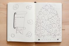 """Bullet Journal® Holiday Planning. Kim's Holiday Survival Guide. Countdown with some fun! """"Here's an idea to countdown to the big day by coloring in the ornaments each day. By the time the big day arrives, your tree will be completely lit! For some added fun, create a holiday bucket list with a few things you want to get done in the last few months of the year. Enjoy a movie every time you knock something off your list!"""""""