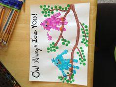 Toddler handprint- owls :-)