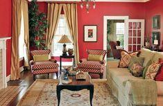 Красная гостиная от Dona Rosene Interiors