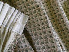 Pair Vintage Laura Ashley Cotton Curtains 'Palmetto' Green & Cream Fabric in Home, Furniture & DIY, Curtains & Blinds, Curtains & Pelmets   eBay