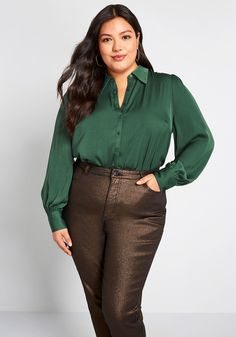 Undeniably Inspired Collared Blouse - Kick your ensemble imagination into high gear by adding this dark green blouse into the mix! A feminine offering from our ModCloth namesake label, this satiny button up will motivate you to create a collection of fresh looks with its subtly puffed shoulders, light gathering at the cuffs, subtle hammered texturing, and total versatility.