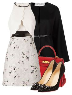 """""""Black White n Red"""" by jacisummer ❤ liked on Polyvore featuring Valentino, Hermès, Giambattista Valli and Christian Louboutin"""