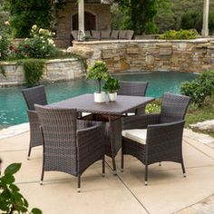 Clementine Outdoor 5pc Multibrown Wicker Square Dining Set