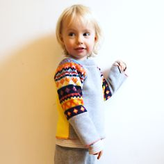 Cosy scandi fleece sweatshirt top - bright modern nordic print,  handmade by Marissa V. on Folksy, £17.00