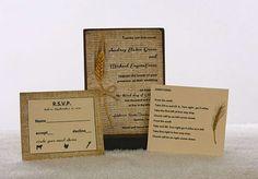 Wedding invitation,1.68 each, rustic, digital burlap design, barn wedding, wheat optional, country wedding invitation, Listing is for sample