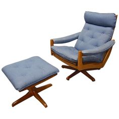 Swivel Chair and Ottoman by Vatne Mobler Norway 1960's   From a unique collection of antique and modern chairs at https://www.1stdibs.com/furniture/seating/chairs/