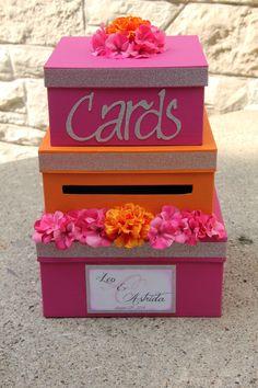 Custom Wedding Card Box 3 Tier Card Holder Square Pink and Wedding Favor Table, Card Box Wedding, Wedding Ideas, Graduation Card Boxes, Orange And Pink Wedding, Floral Crown Wedding, Hot Pink Weddings, Bridal Decorations, Bar Mitzvah