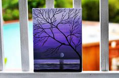 Original Sunset Painting, 12x9 Wall Art, Wall Art, Hand painted Sunset Silhouette, Tree Painting $30.00