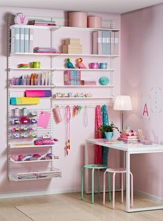 Elfa Craft - Best Selling Storage Solution III at STORE. An ideal storage solution for your craft room designed by our in house elfa design team. Craft Storage Solutions, Craft Room Storage, Storage Systems, Storage Ideas, Elfa Shelving, Wall Racks, Space Crafts, Craft Space, Sewing Rooms