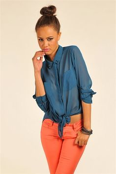Spiked Tie Top - Blue