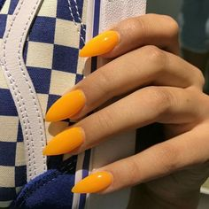 Trendy Yellow Nail Art Designs To Make You Stunning In Summer;Acrylic Or Gel Nails; French Or Coffin Nails; Matte Or Glitter Nails; Cute Acrylic Nails, Glitter Nail Art, Matte Nails, My Nails, Long Nails, Acrylic Nails Orange, Short Nails, Bright Orange Nails, Acrylic Nails Stiletto