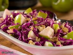 This Apple Tree Cabbage Slaw is our take on a lighter Waldorf-style salad. It's a coleslaw recipe that's loaded with fresh Granny Smith apples, walnuts, and colorful red cabbage. Potluck Recipes, Healthy Dessert Recipes, Fall Recipes, Cooking Recipes, Diabetic Recipes, Kidney Recipes, Cooking Pork, Diabetic Snacks, Healthy Balanced Diet