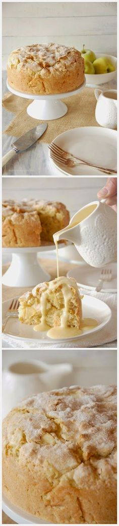 Irish Apple Cake with Custard Sauce ~ Easy Kitchen 4 All