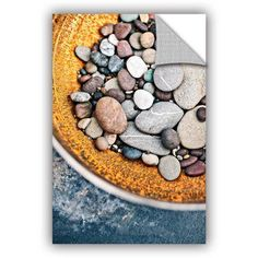 ArtAppealz Elena Ray Rusted Bowl Of River Stones Removable Wall Art, Size: 24 x 36, Black