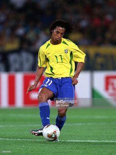 Football, FIFA 2002 World Cup Final, Yokohama, Japan, 30th June 2002, Brazil 2 v Germany 0, Brazil's Ronaldinho,Credit: POPPERFOTO/JOHN McDERMOTT